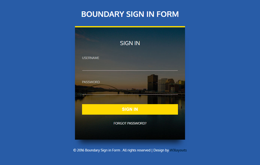 Boundary Sign in Form
