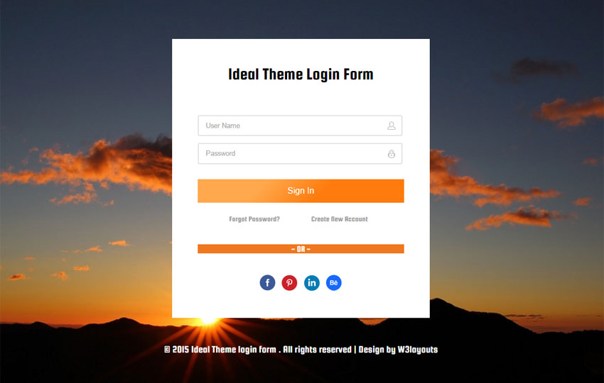 Ideal Theme Login Form