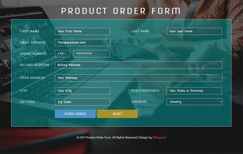 order form html template  Product Order Form