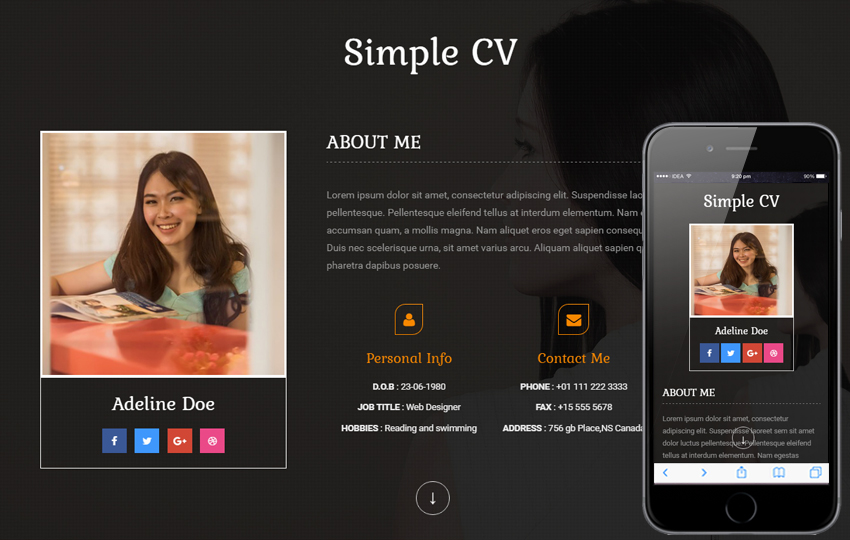 resume website samples personal - Personal Website Resume Examples